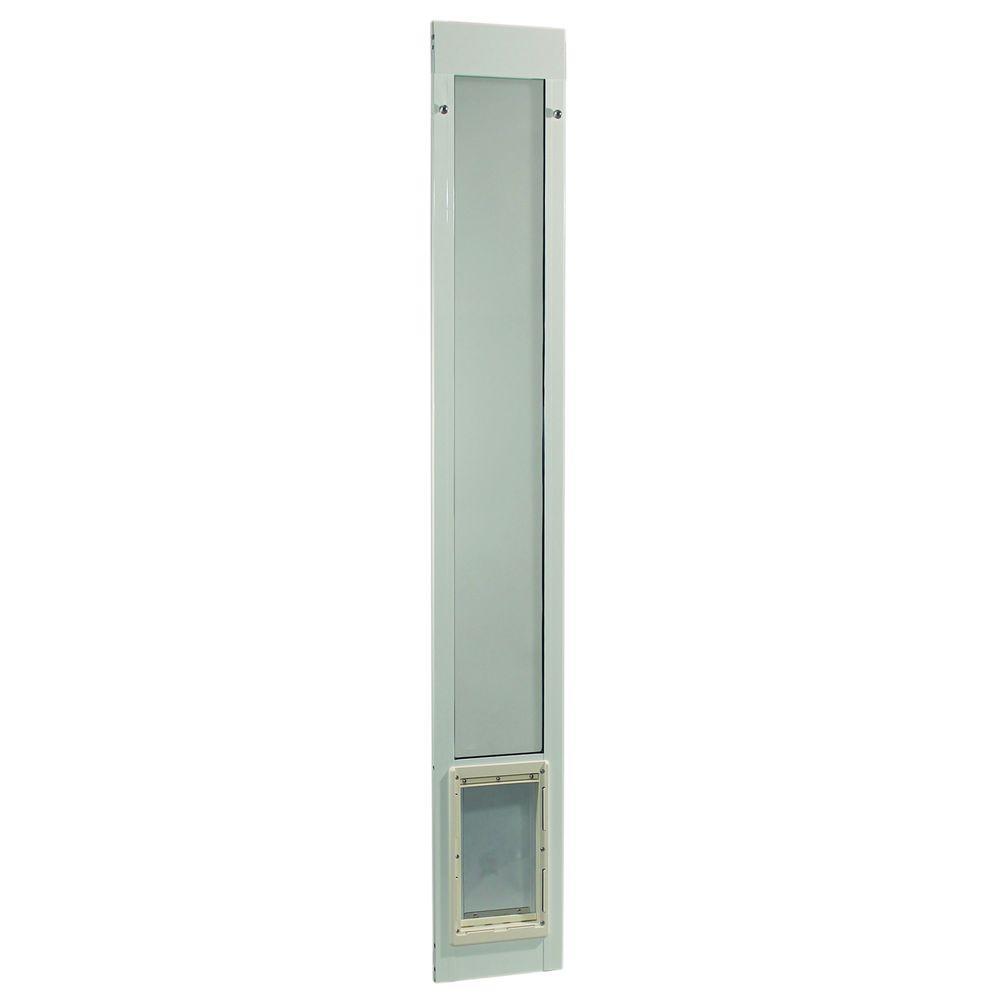 7 in. x 11.25 in. Medium White Pet and Dog Patio Door Insert for 77.6 in. to 80.4 in. Tall Aluminum Sliding Glass Door