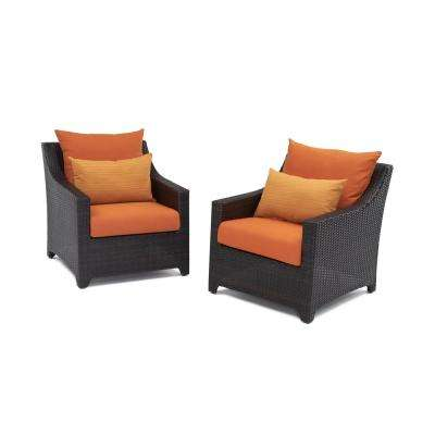Deco Patio Club Chair with Tikka Orange Cushions (2-Pack)