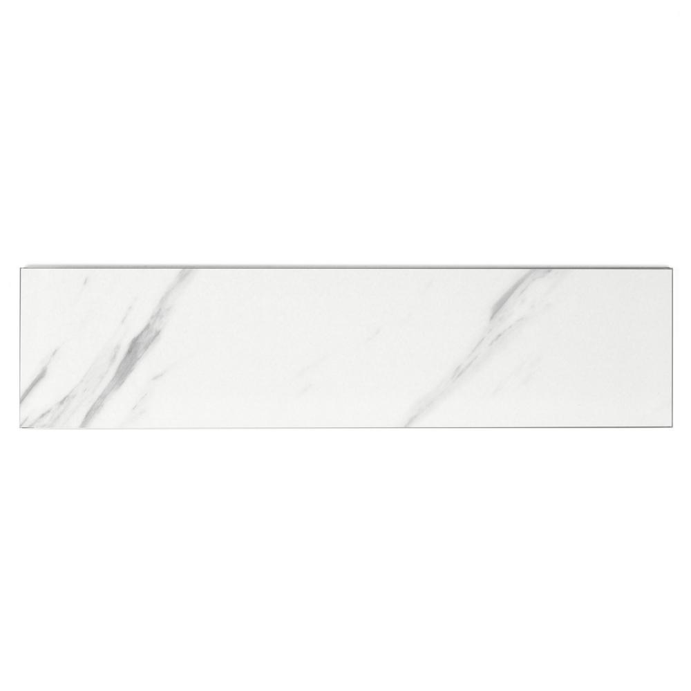 ABOLOS Subway 3'' x 12'' Calacatta White Matte Stone Look Glass