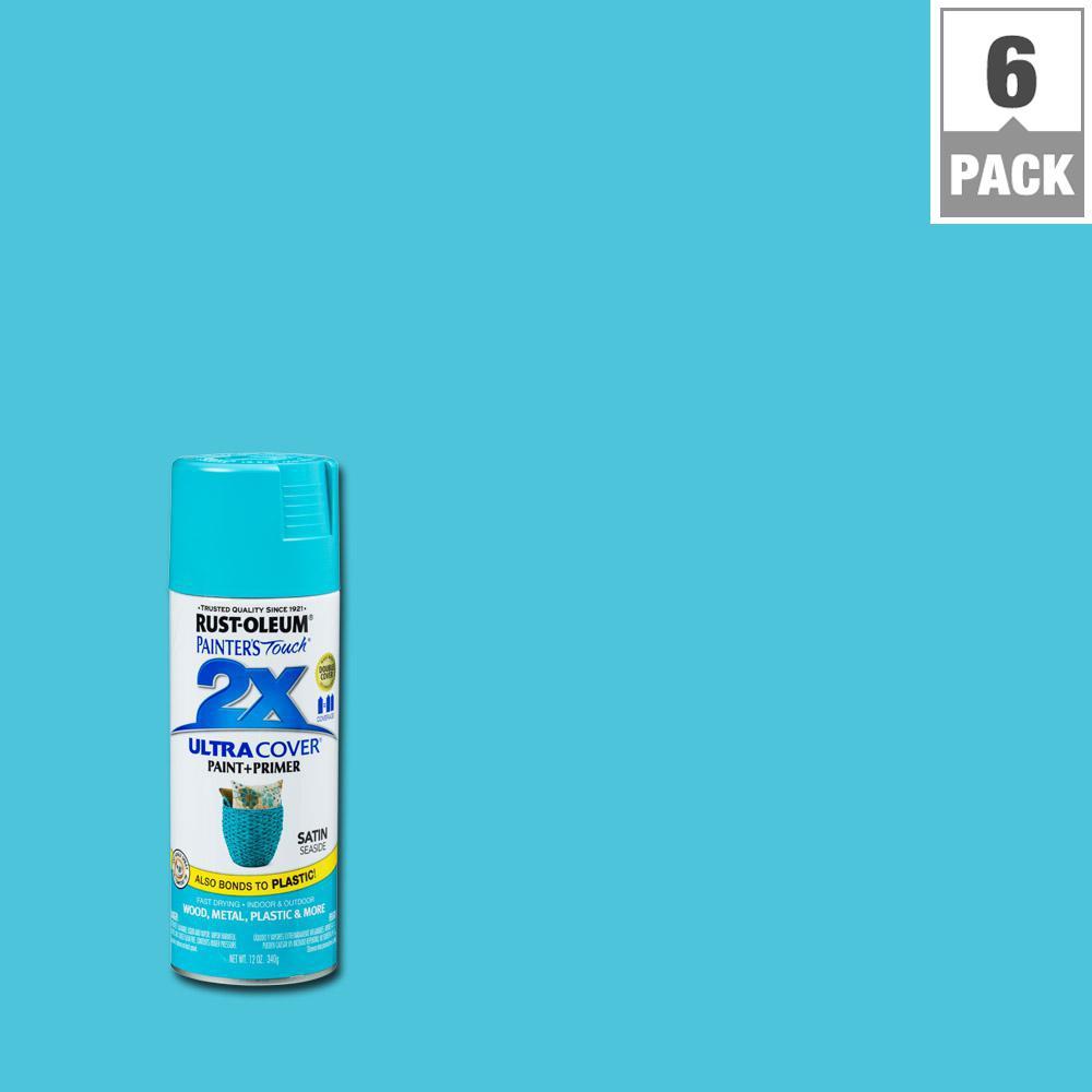 12 oz. Satin Seaside General Purpose Spray Paint (6-Pack)