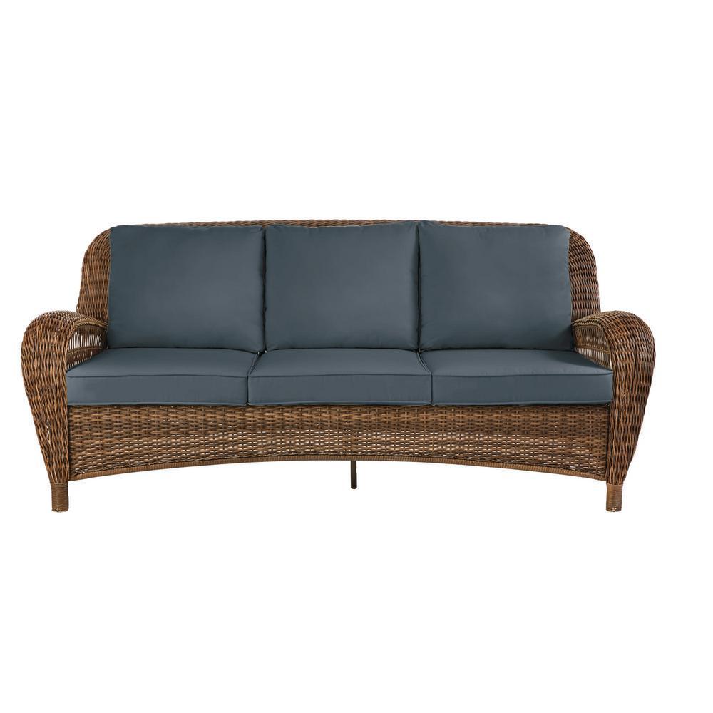 Beacon Park Brown Wicker Outdoor Patio Sofa with Sunbrella Denim Blue Cushions