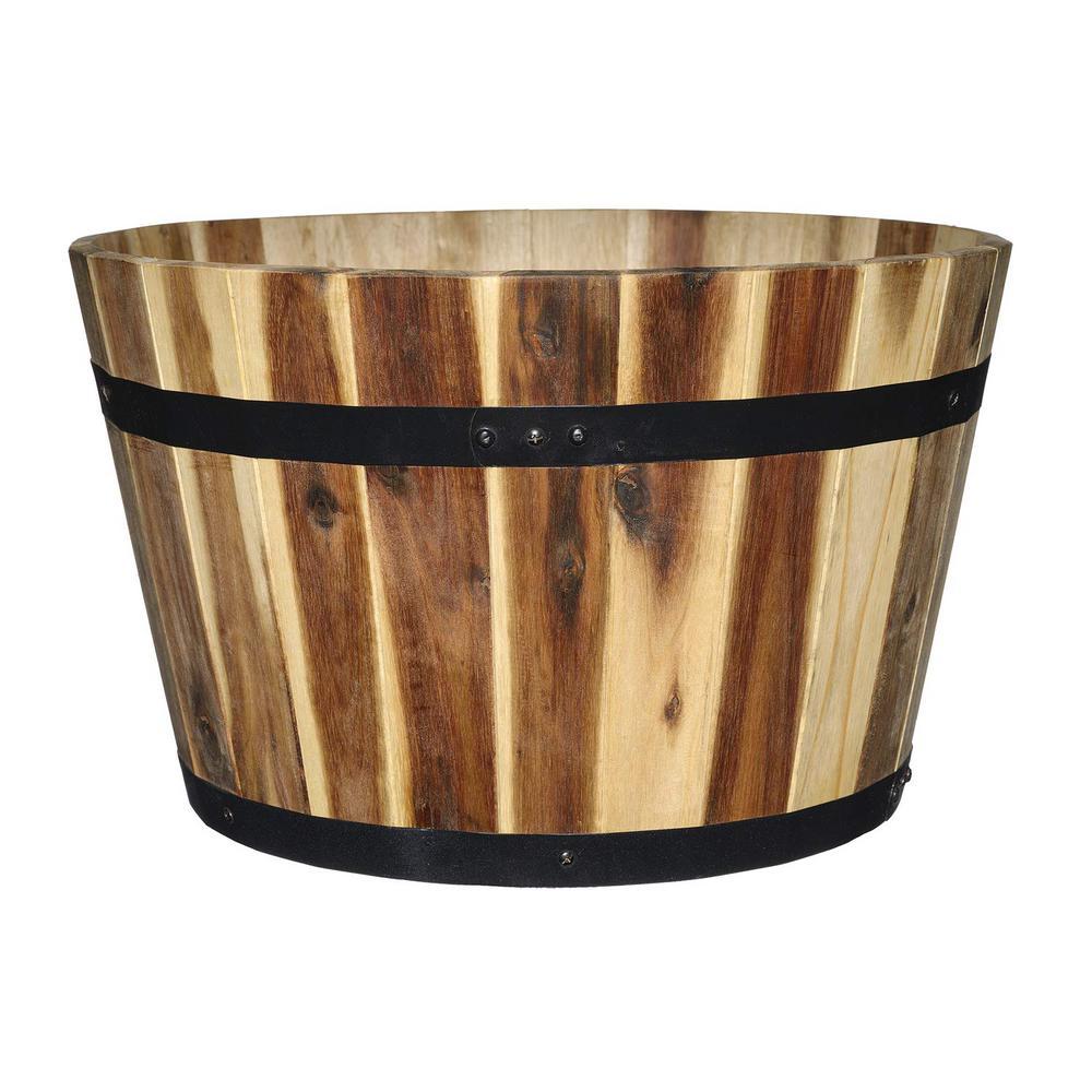 16 in. Acacia Wood Whiskey Barrel Planter
