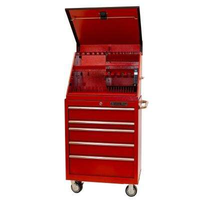 30 in. Portable Workstation and 5-Drawer Standard Roller Cabinet Combination, Red
