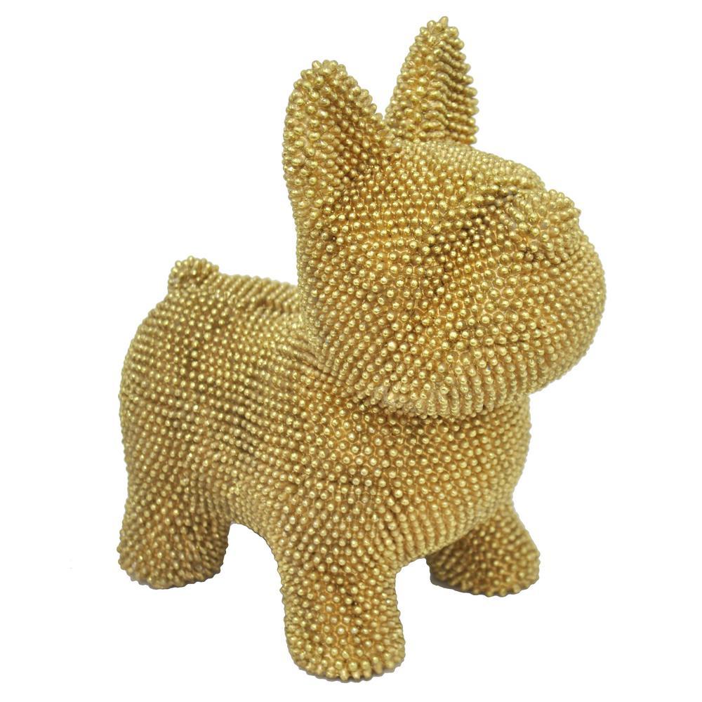 Decorative Metalic Gold Resin Dog Bank