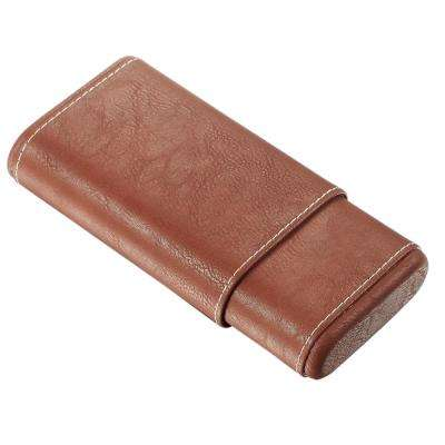 Finn Brown Cigar Case with White Stitching