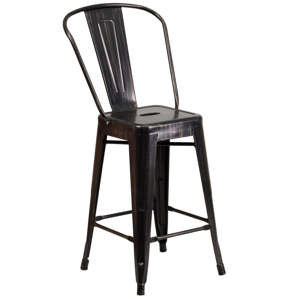 Awe Inspiring Flash Furniture 24 25 In Black And Antique Gold Bar Stool Pabps2019 Chair Design Images Pabps2019Com