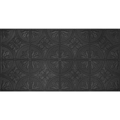 Dimensions Faux 2 ft. x 4 ft. Glue-up Tin Style Black Ceiling Tile for Surface Mount