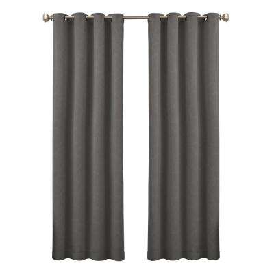 Blackout Round and Round 95 in. L Grey Polyester Grommet Curtain