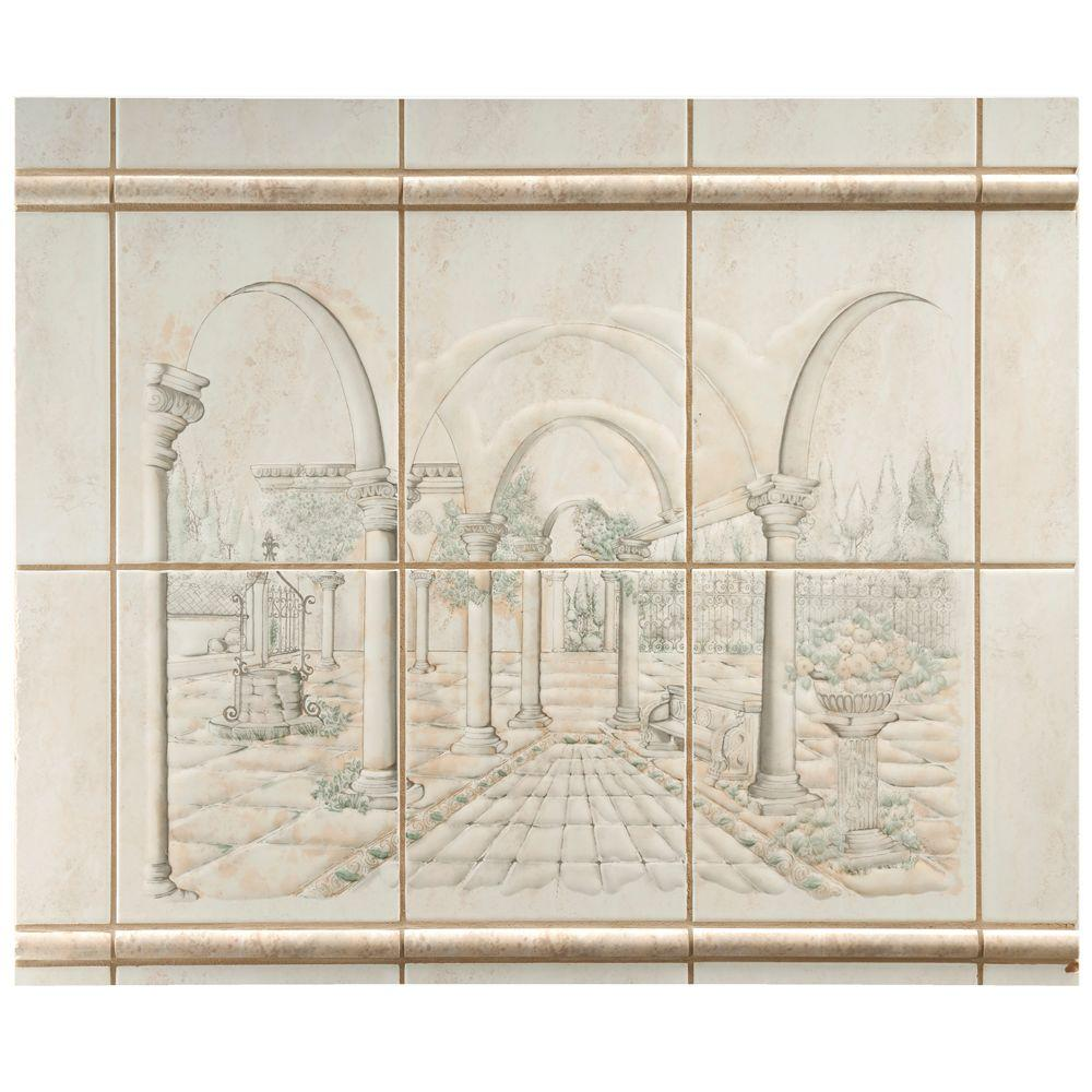 Merola Tile Joya Beige Arcade 20-1/4 in. x 24-1/4 in. Ceramic Mural Deco Wall Tile