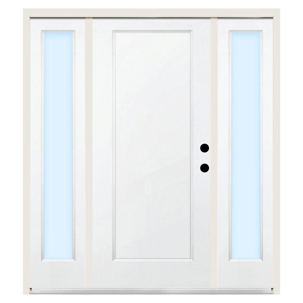 Steves & Sons Premium 1-Panel Primed White Steel Prehung Front Door with 12 in. Clear Sidelites-DISCONTINUED