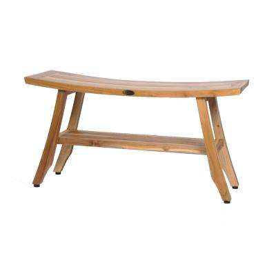 EarthyTeak Satori 34 in. Teak Shower Bench with Shelf