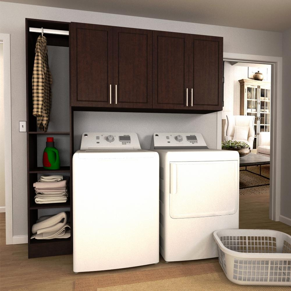 Modifi Madison 75 in. W Mocha Tower Storage Laundry Cabinet Kit ...
