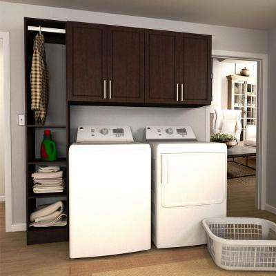 W Mocha Tower Storage Laundry Cabinet Kit