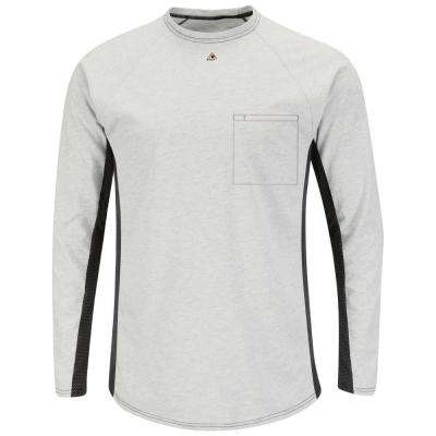 EXCEL FR Men's Large Grey Long Sleeve FR Two-T1 Base Layer with Concealed Chest Pocket