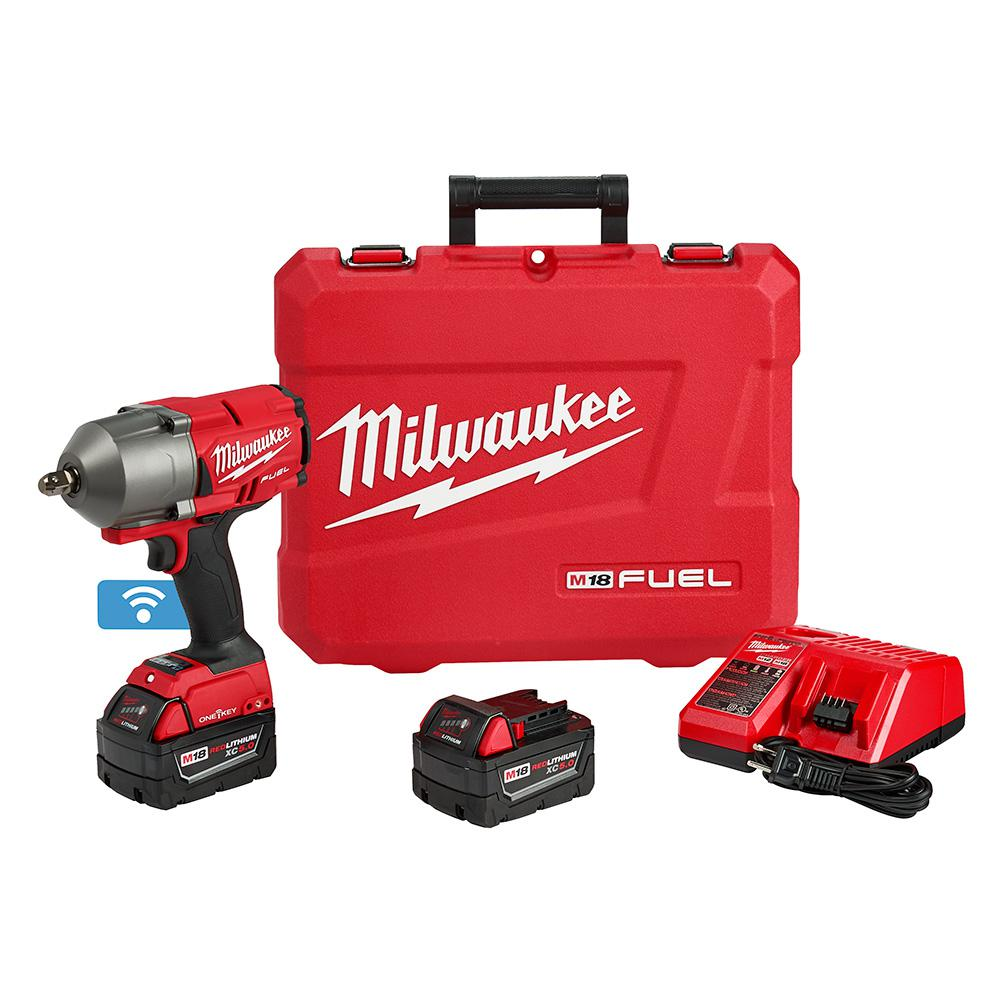 Milwaukee M18 FUEL ONE-KEY 18-Volt Lithium-Ion Brushless Cordless 1/2 in. Impact Wrench w/ Pin Detent Kit w/(2) 5.0Ah Batteries