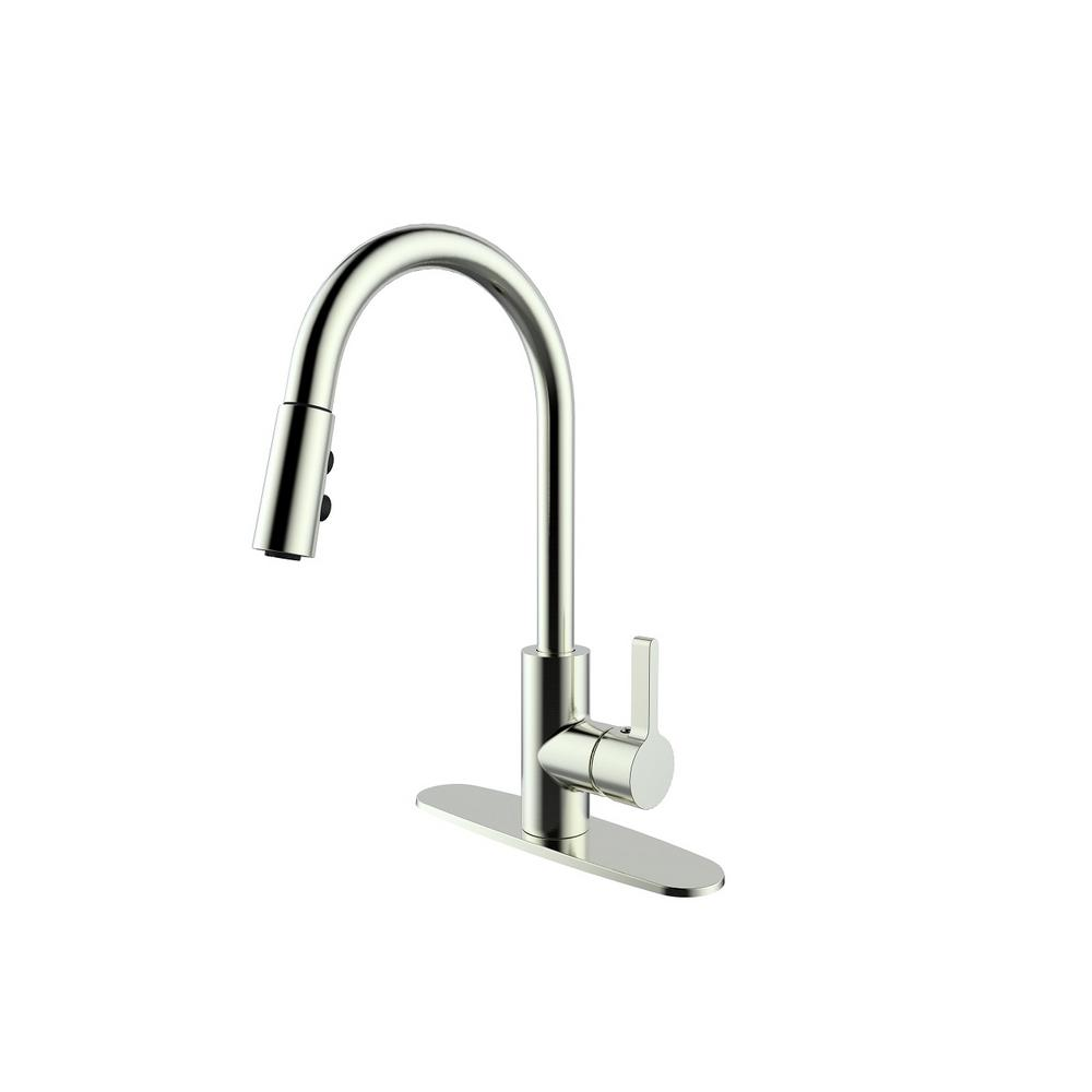 Brushed Nickel Pull Down Sprayer Spring Kitchen Faucet Swivel Spout Mixer Cover