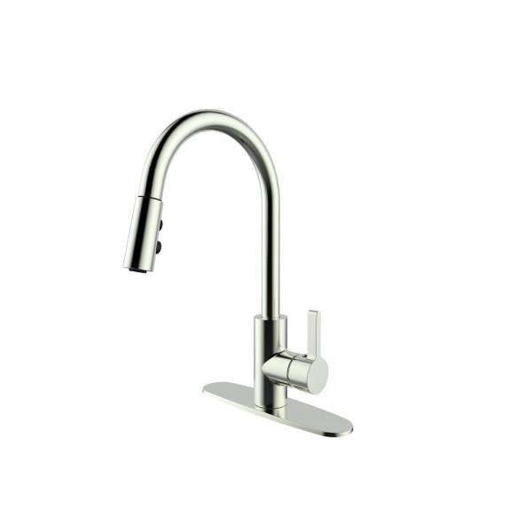 Single-Handle Pull-Down Sprayer Standard Kitchen Faucet with Spray Options in Brushed Nickel