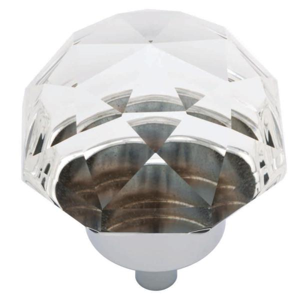 1-3/8 in. (35 mm) Chrome and Clear Faceted Glass Oversized Cabinet Knob