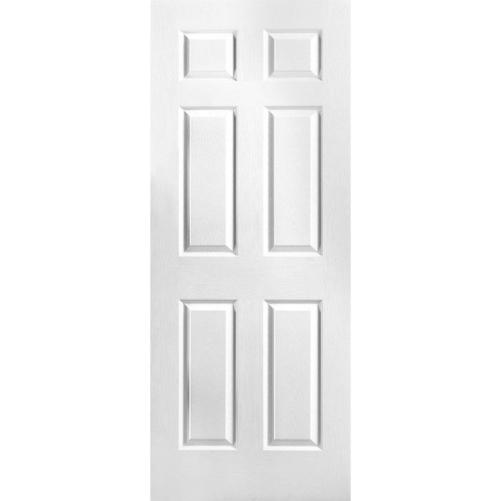 Masonite 32 In X 78 In Textured 6 Panel Hollow Core Primed Composite Interior Door Slab 438809 The Home Depot