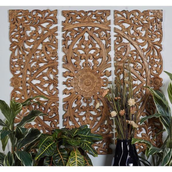 48 In X 16 In Carved Botanical Scrollwork Framed Wooden Wall Art Set Of 3