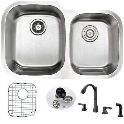 MOORE Undermount Stainless Steel 32 in. Double Bowl Kitchen Sink and Faucet Set with Soave Faucet in Oil Rubbed Bronze