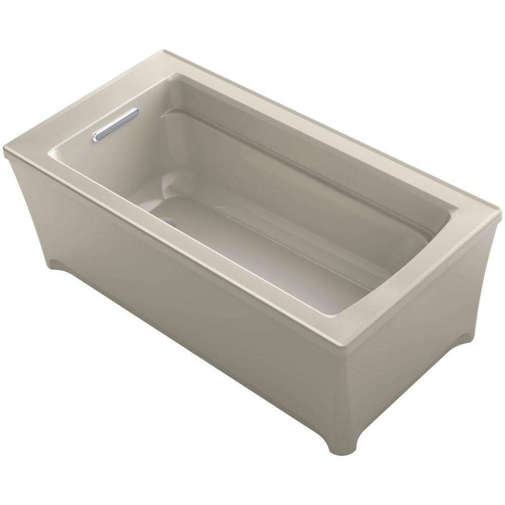 Archer 5 ft. Acrylic Flat Bottom Non-Whirlpool Bathtub in Sandbar