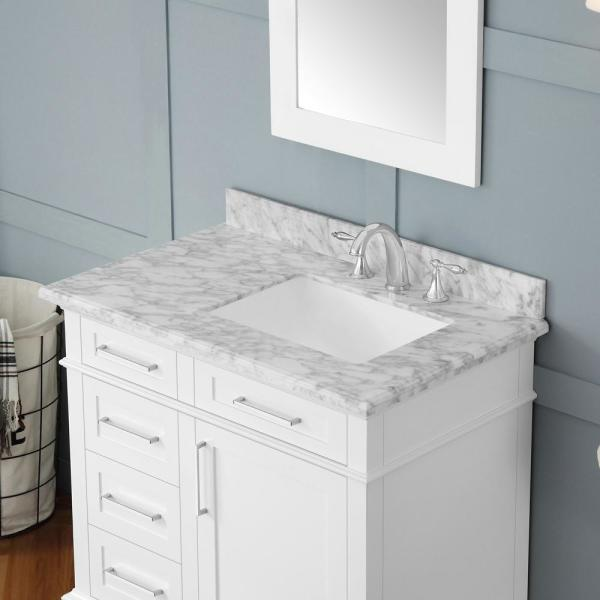 Home Decorators Collection Sonoma 36 In, White Bathroom Vanity With Carrera Marble Top