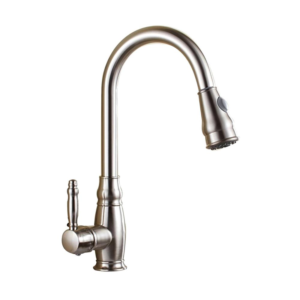 Vanity Art 7.68 in. Single-Handle Pull-Down Sprayer Kitchen Faucet in Brushed Nickel was $146.0 now $102.2 (30.0% off)