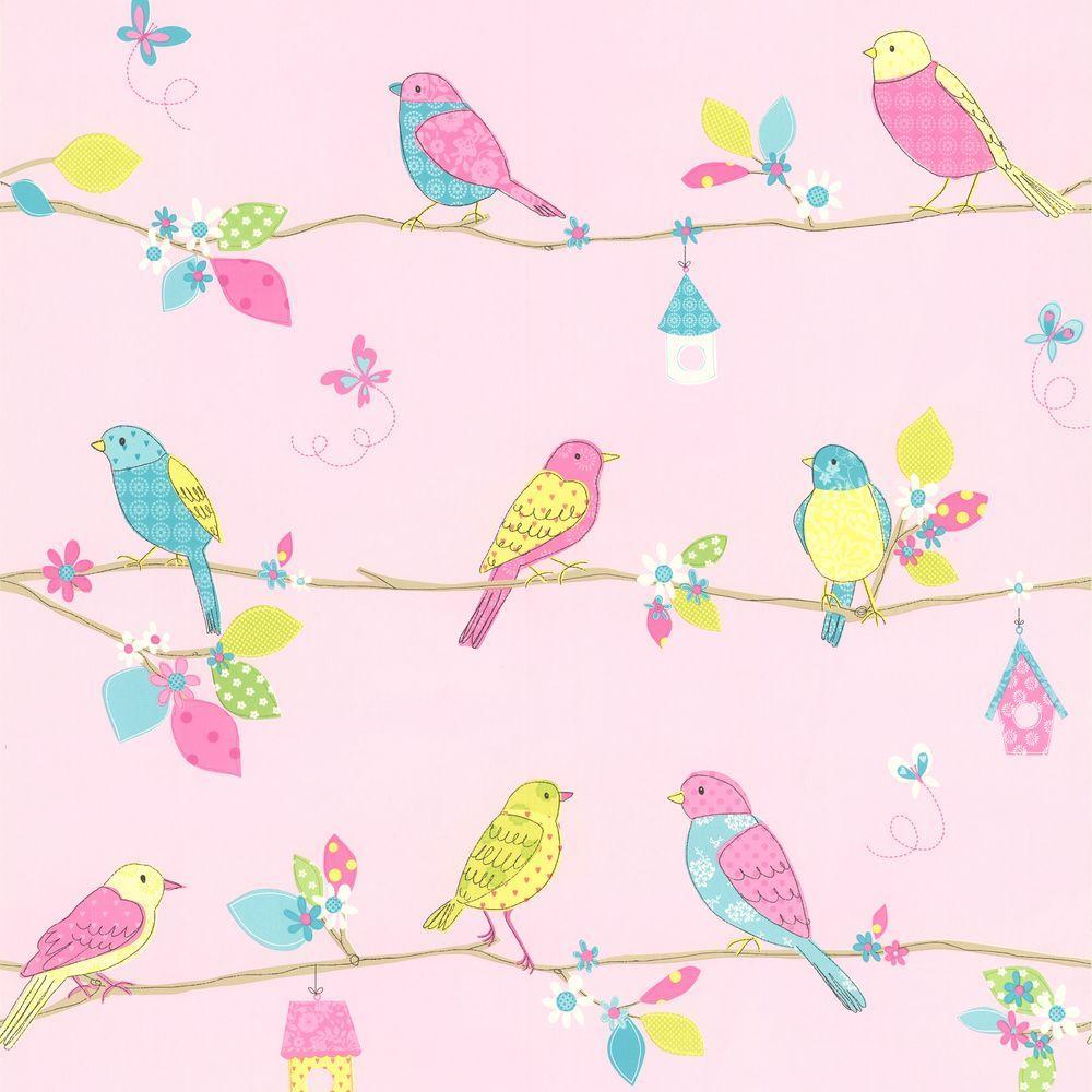 Brewster Social Birdie Pink Quilted Birds Wallpaper