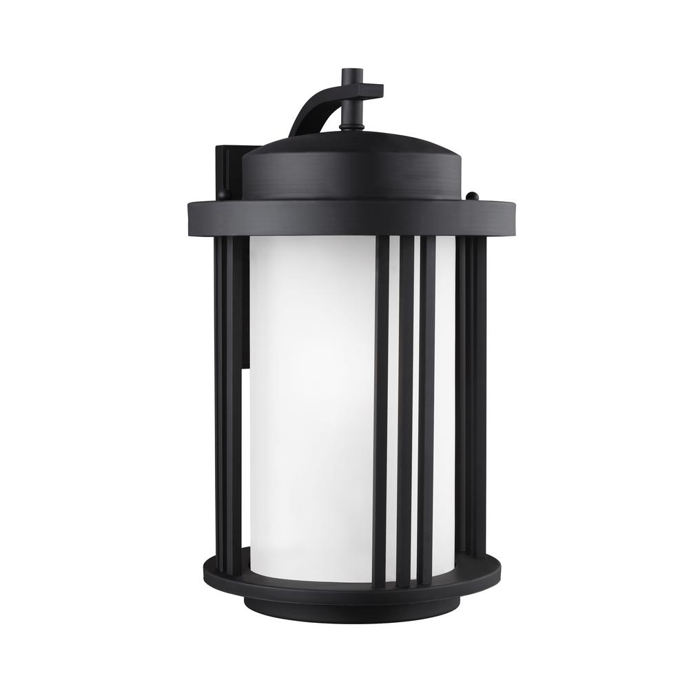 Sea Gull Lighting Crowell 1-Light Black Outdoor 19.5625 in. Wall Lantern Sconce with LED Bulb