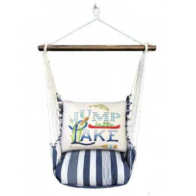 3-Piece Wood Polyester Cushioned Porch Swing with Jump in the Lake Print Back Pillow