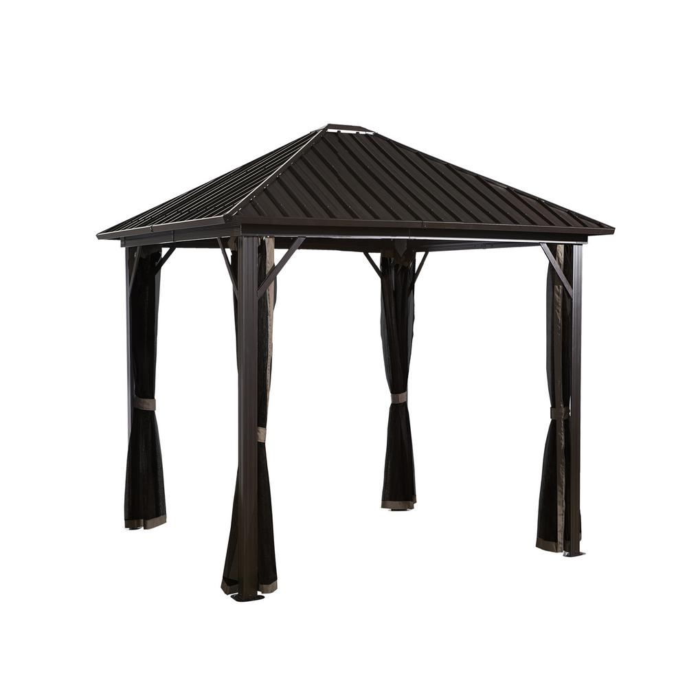 Sojag 10 ft. D x 10 ft. W Genova Aluminum Gazebo with Galvanized Steel Roof Panels and Mosquito Netting