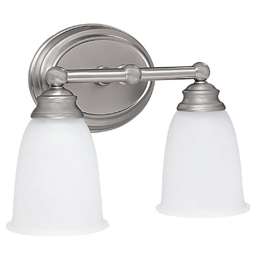 Johnson 2-Light Matte Nickel Incandescent Bath Vanity Light