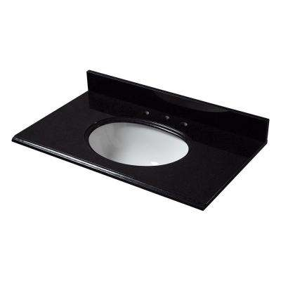 37 in. W Granite Vanity Top in Black with White Bowl