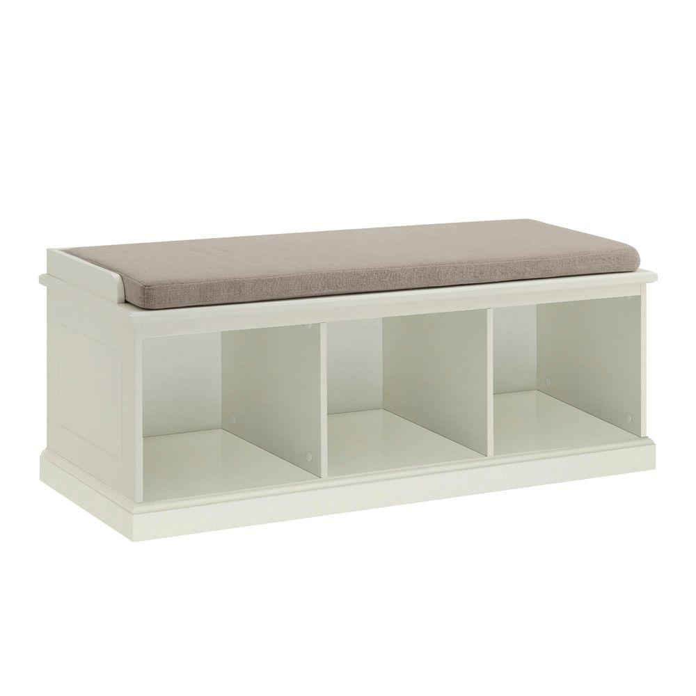 white cubby cushion home amelia collection fabric benches in dining decorators bench p rectangle