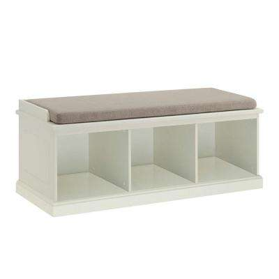 Amelia Rectangle Fabric Cushion 3-Cubby Bench in White
