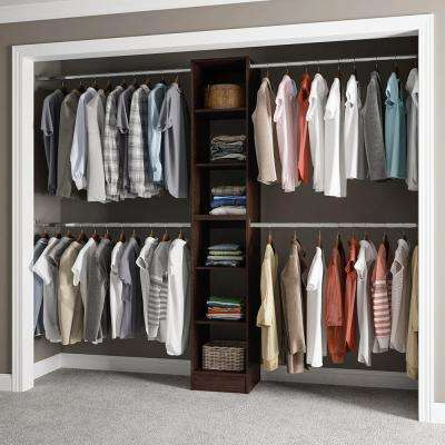 15 in. D x 105 in. W x 84 in. H Melamine Reach-In Closet System Kit with Hanging Rods in Mocha