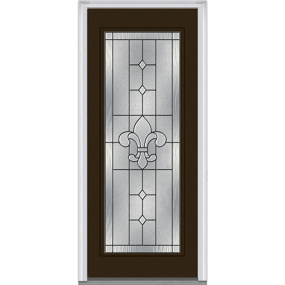 Mmi door 37 5 in x in carrollton decorative glass for Full glass exterior door