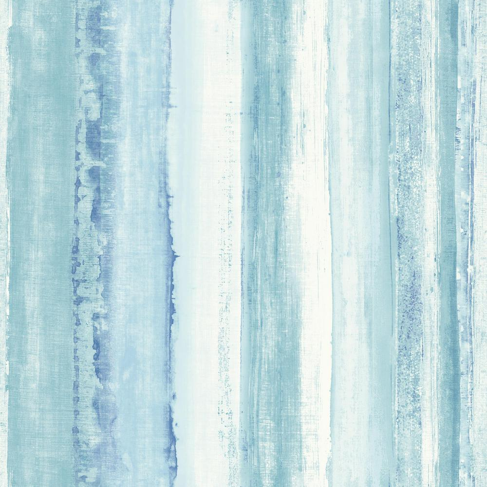 RoomMates 28.18 sq. ft. Blue Watercolor Stripe Peel and ...