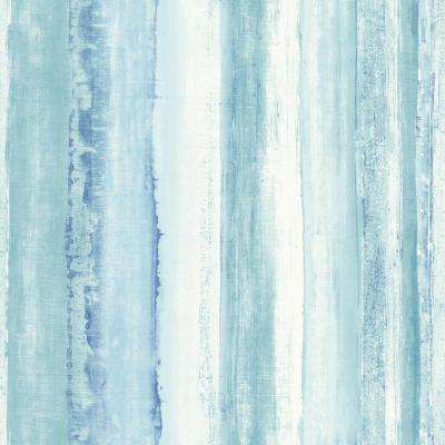 28.18 sq. ft. Blue Watercolor Stripe Peel and Stick Wallpaper