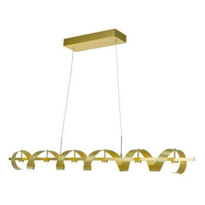 Lovely 6 Light Brushed Brass Billiard Light