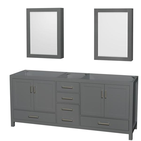 Sheffield 78.5 in. W x 21.5 in. D Vanity Cabinet Only with Medicine Cabinets in Dark Gray