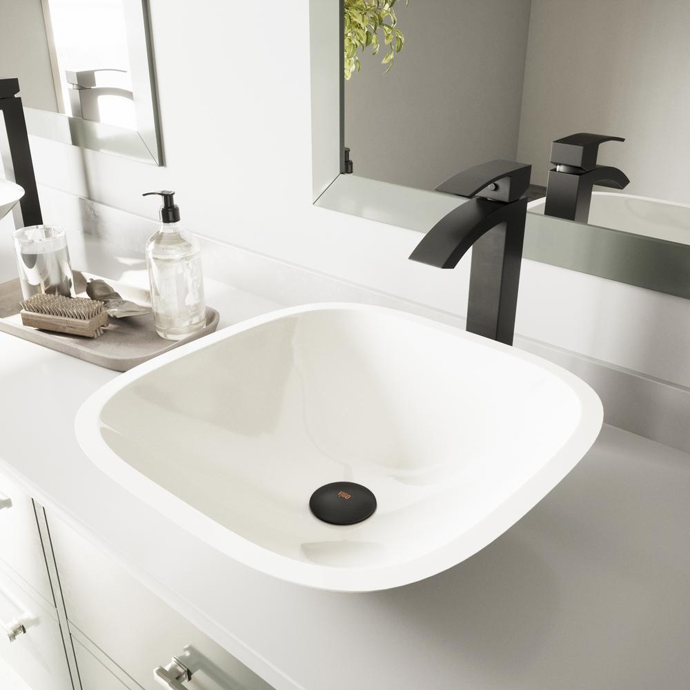 Vigo glass vessel sink in square shaped white phoenix stone and duris faucet set in matte