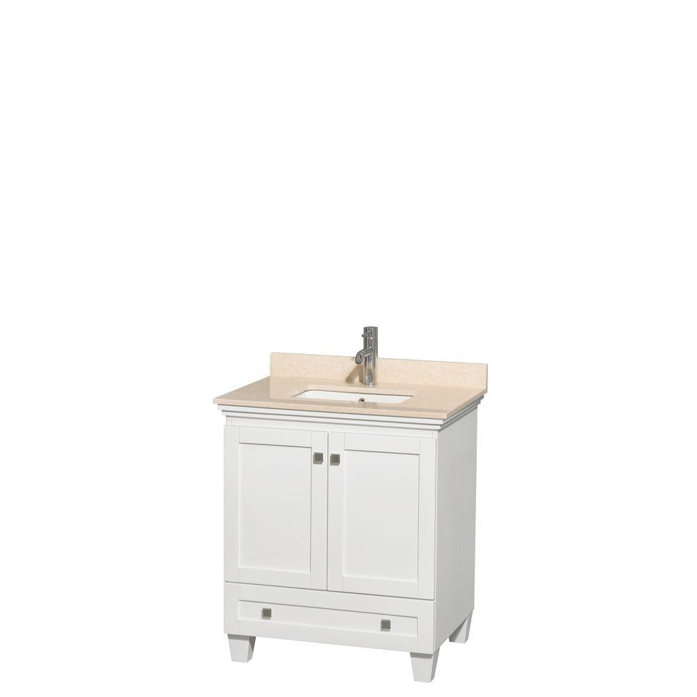 30 inch vanity with sink. Acclaim 30 in  Vanity White with Marble Top Mayworth Ivory Quartz