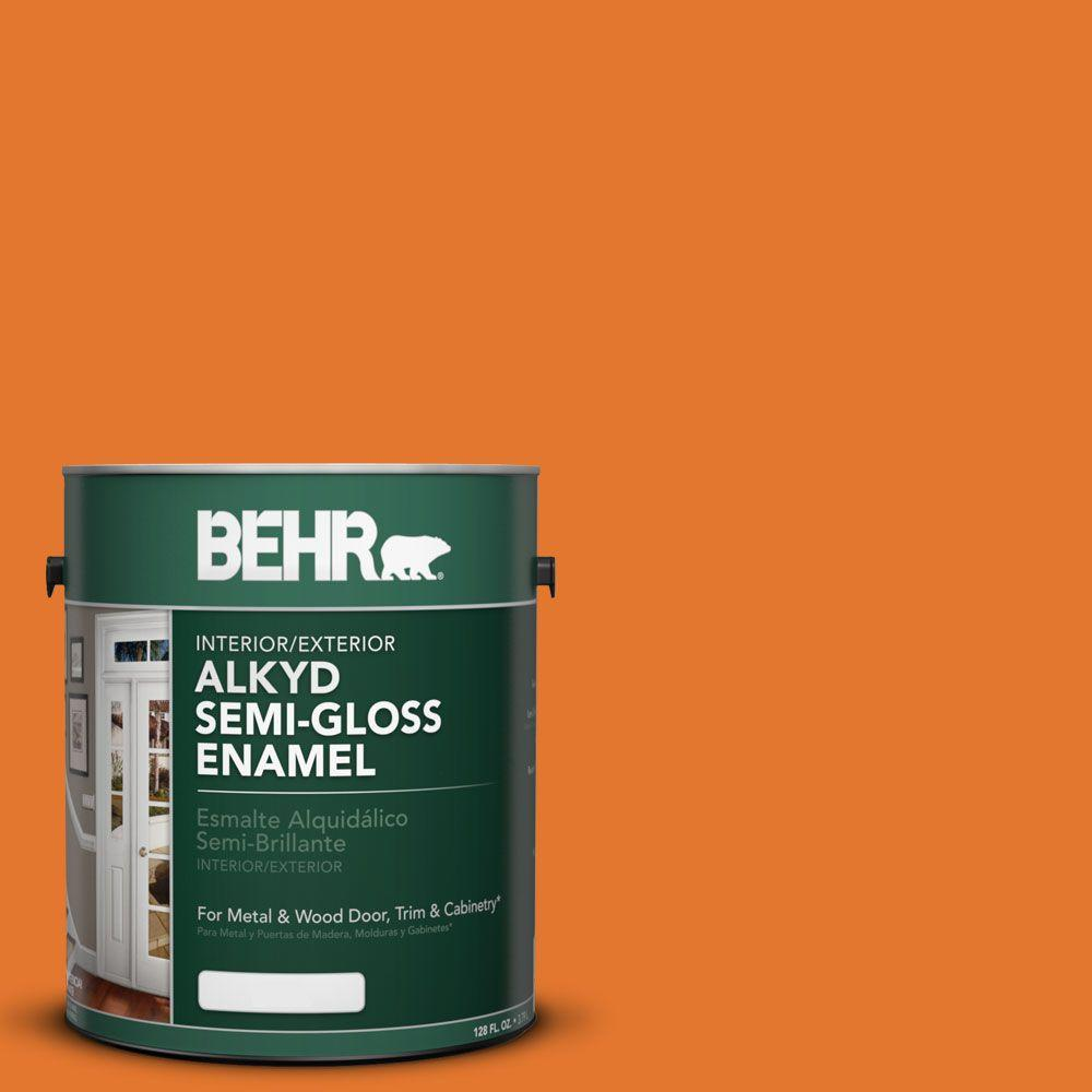 behr exterior paint home depot. BEHR 1 Gal. #OSHA 3 Safety Orange Semi-Gloss Enamel Alkyd Interior/ Behr Exterior Paint Home Depot