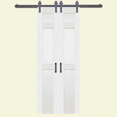 36 in. x 84 in. 6-Panel Composite PVC White Split Barn Door with Hardware Kit