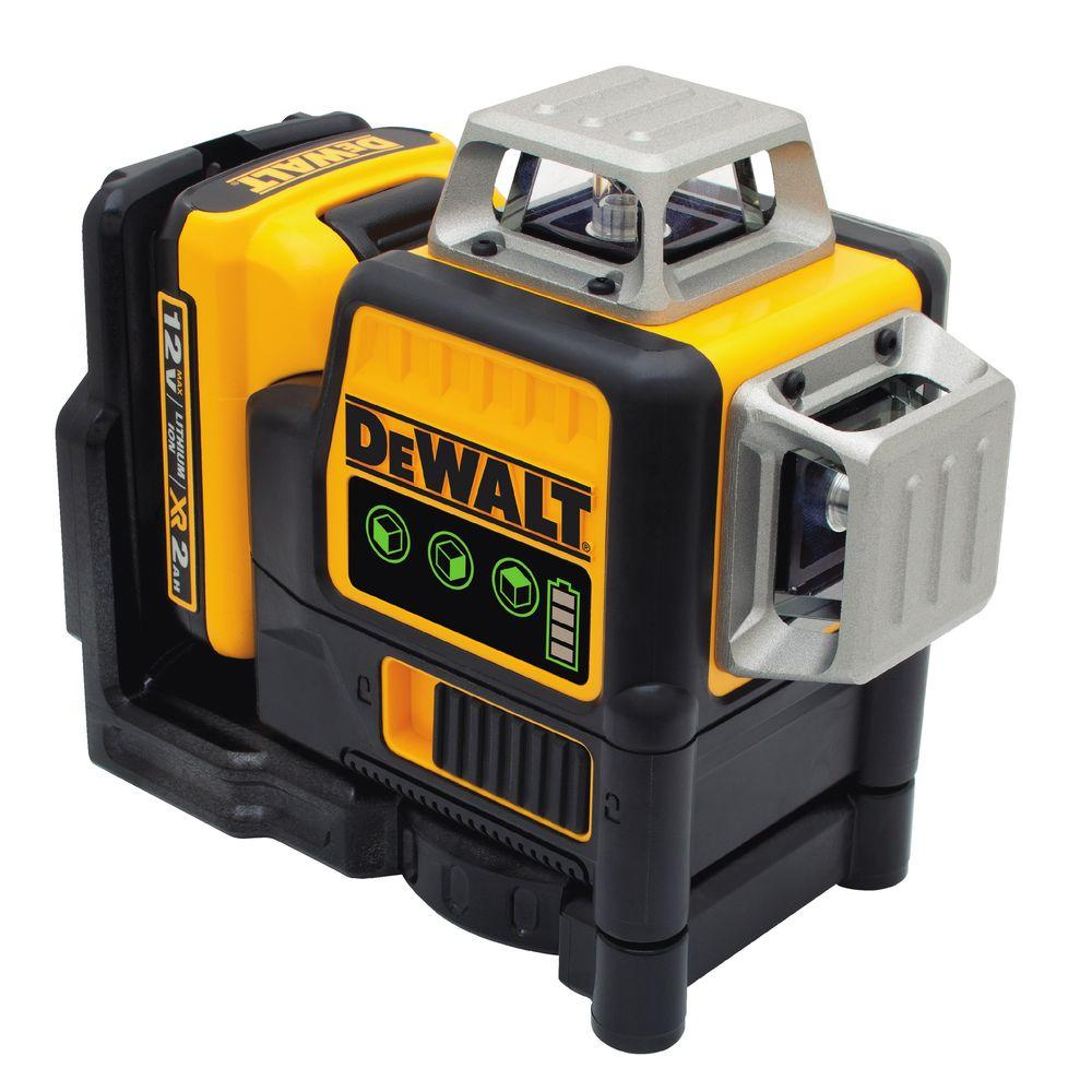 DEWALT 12-Volt MAX Lithium-Ion 100 ft. Green Self-Leveling 3-Beam 360 Degree Laser Level with Battery 2Ah, Charger and Case
