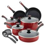 Riverbend 12-Piece Red Speckle Cookware Set with Lids