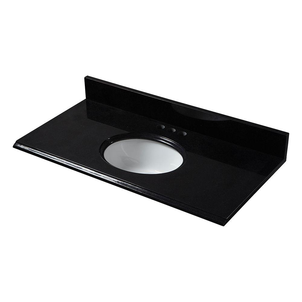 Pegasus 37 in. W Granite Vanity Top in Black with White Bowl and 4 in. Faucet Spread