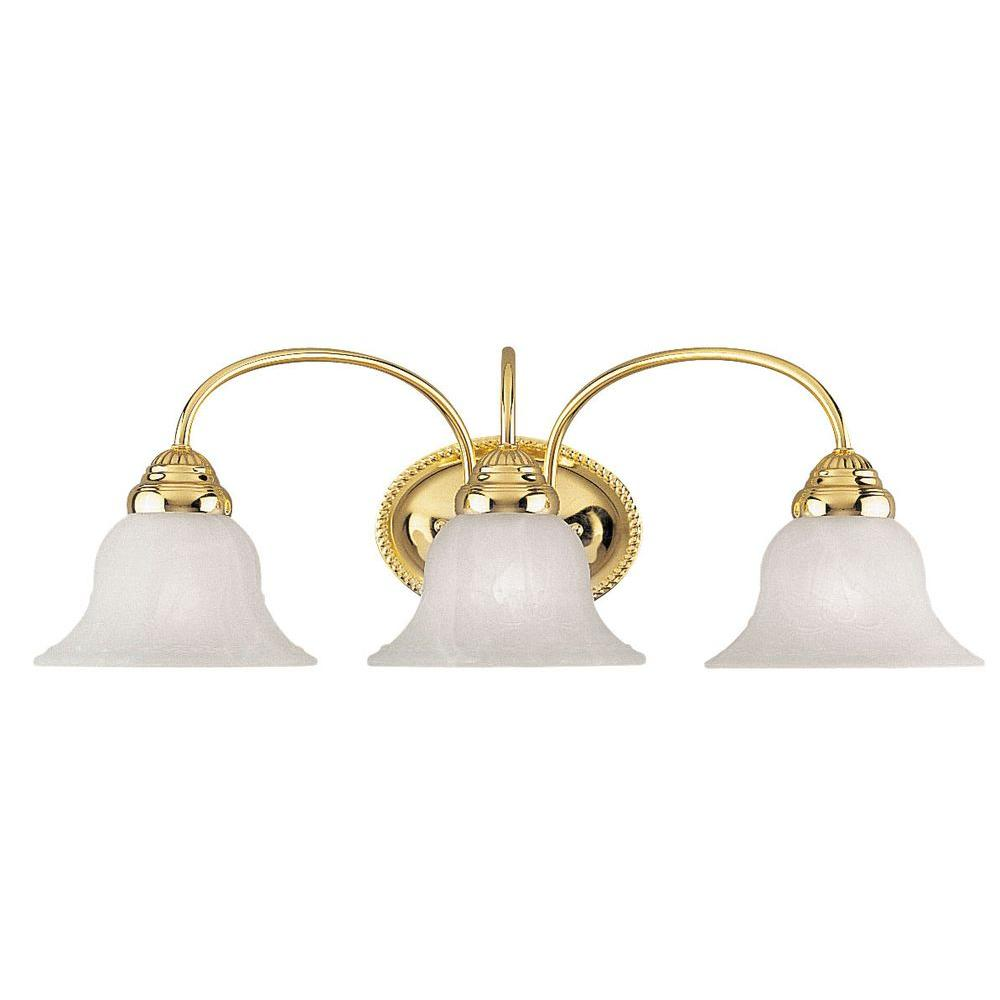 Livex Lighting West Lake 3 Light Polished Brass Bath Light 1533 02 The Home Depot